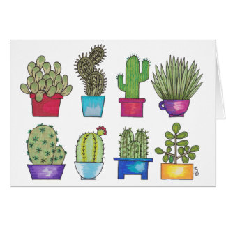 Cactus dans des pots cartes