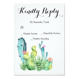 Cactus d'aquarelle épousant la carte de réponse de