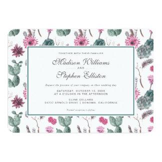 Cactus de Boho, succulent et floral - mariage Carton D'invitation 12,7 Cm X 17,78 Cm