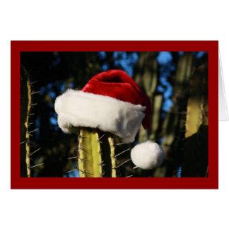 Cactus de casquette de Père Noël Carte De Vœux