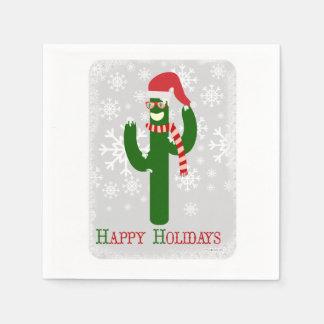 Cactus de Noël drôle Serviette Jetable