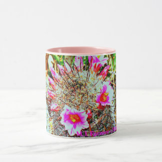 Cactus d'hameçon avec la tasse rose de fleurs