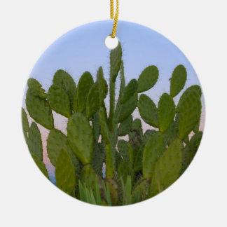 Cactus et sisal dans la forêt sèche ornement rond en céramique