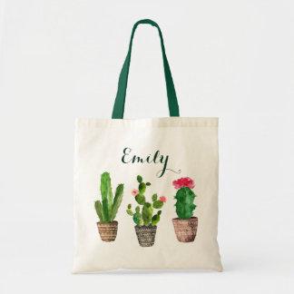 Cactus floral personnalisé de sac fourre-tout