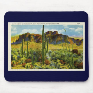 Cactus géant dans le désert - carte postale vintag tapis de souris