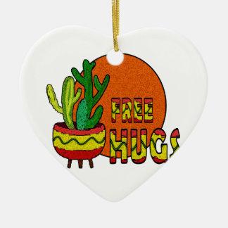 Cactus - libérez les étreintes ornement cœur en céramique