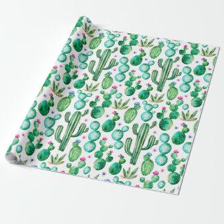 Cactus mignon d'aquarelle papier cadeau