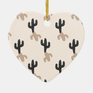 Cactus noirs dans le désert rose ornement cœur en céramique