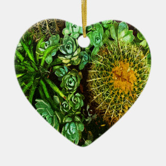 Cactus Ornement Cœur En Céramique