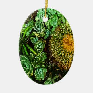 Cactus Ornement Ovale En Céramique