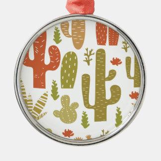 cactus ornement rond argenté