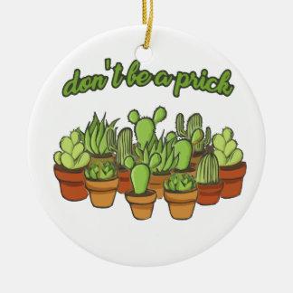 Cactus Ornement Rond En Céramique