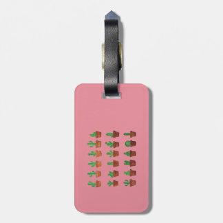 Cactus sur l'étiquette rose de bagage étiquette à bagage