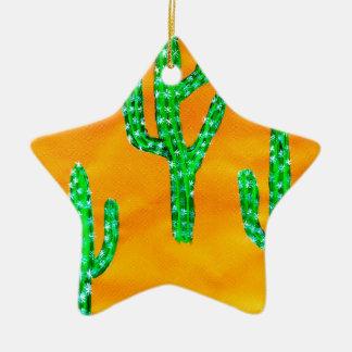 Cactus vert 3 ornement étoile en céramique