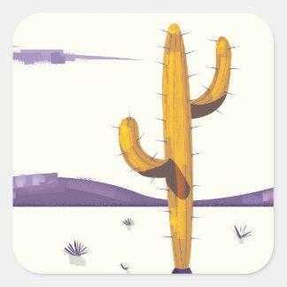 Cactus vintage dans le désert sticker carré