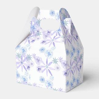 Cadeau/boîte floraux pourpres et bleus de faveur ballotins