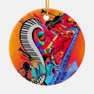 Cadeau coloré d'ornement d'art de musique de jazz ornement rond en céramique