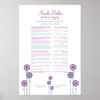 Cadeau d'art de bat mitzvah de partie de Nicole Poster