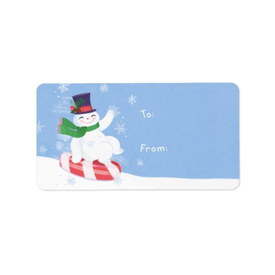 Cadeau de bonhomme de neige étiquette d'adresse