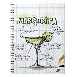 Cadeau de cocktail de boissons de margarita carnet à spirale