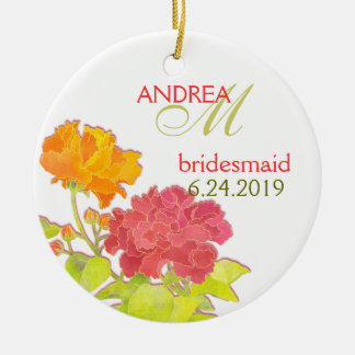 Cadeau de demoiselles d'honneur de mariage de ornement rond en céramique