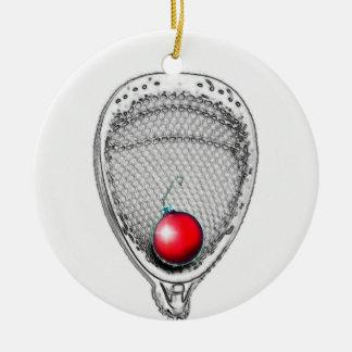 Cadeau de gardien de but de lacrosse ornement rond en céramique