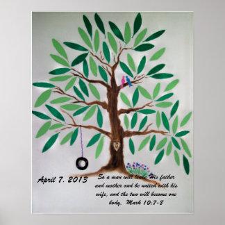 Cadeau de livre d'invité d'arbre de mariage posters