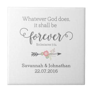 Cadeau de mariage chrétien d'art d'écriture sainte petit carreau carré