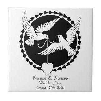 Cadeau de mariage gai de tuile élégante de petit carreau carré