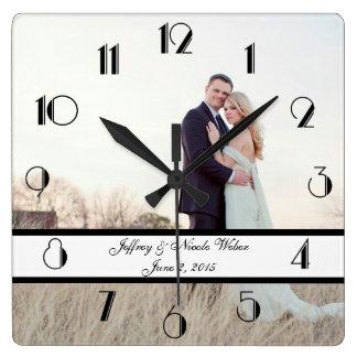Cadeau de mariage personnalisé par coutume horloge carrée