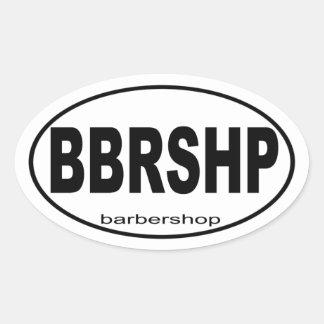 Cadeau de musique de raseur-coiffeur sticker ovale
