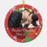 Cadeau de Noël du couple de mariage de poinsettia  Ornements