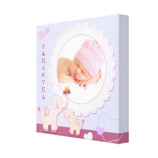Cadeau de photo de bébé d'éléphant d'amour d'amour toile tendue