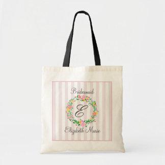 Cadeau décoré d'un monogramme de demoiselle sac en toile