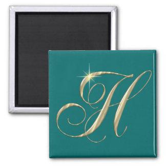 Cadeau d'initiale de monogramme de la lettre H d'o Magnet Carré
