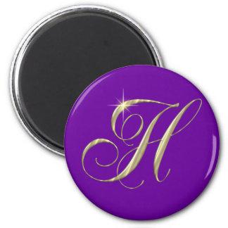 Cadeau d'initiale de monogramme de la lettre H d'o Magnet Rond 8 Cm
