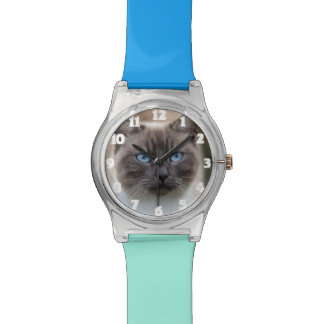 Cadeau drôle de montre de photo de chat