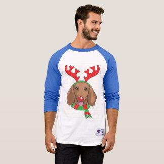 cadeau drôle de Noël de renne de T-shirt de teckel
