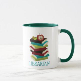 Cadeau mignon de bibliothécaire de pile de livre tasses