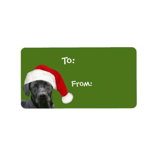 Cadeau noir de Noël de laboratoire Étiquette D'adresse