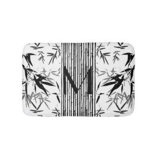 Cadeau noir et blanc en bambou tropical de tapis de bain