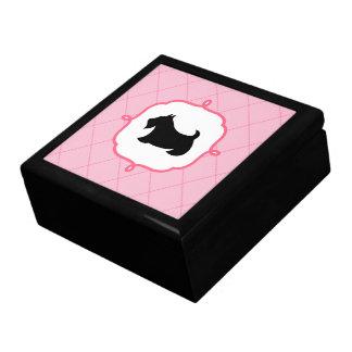 Cadeau rose de boîte à bijoux de Terrier