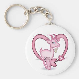 Cadeau rose de chèvre de bande dessinée de porte-clé rond