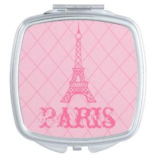 Cadeau rose de miroir de contrat de Tour Eiffel de Miroirs De Voyage