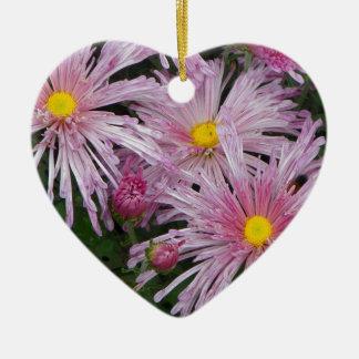 Cadeau rose de photo de fleur ornement cœur en céramique