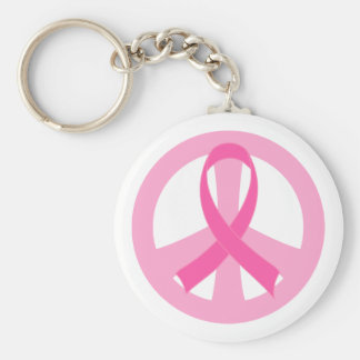 Cadeau rose de signe de paix de ruban de cancer du porte-clés