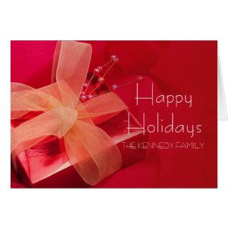 Cadeau rouge de Noël Carte De Vœux
