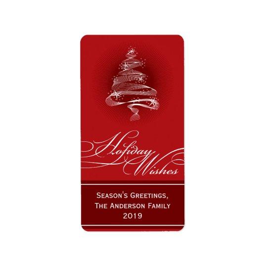 Cadeau rouge de scintillement T de remous d'arbre Étiquette D'adresse