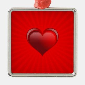 Cadeau rouge romantique de bannière avec l'amour ornement carré argenté