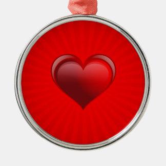 Cadeau rouge romantique de bannière avec l'amour ornement rond argenté